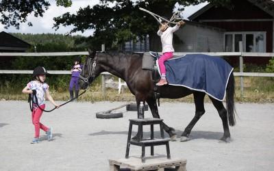 Ovanligt hästdagläger juli 2014. Lovisa kastar lasso sittandes på Flisan.