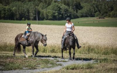 Nikola på Safir och Camilla på Flisan rider i halsring en het sommardag. Den 11 augusti 2017.