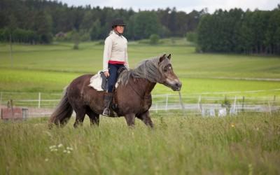 Camilla rider utan träns på Safir. 11 juni 2016.