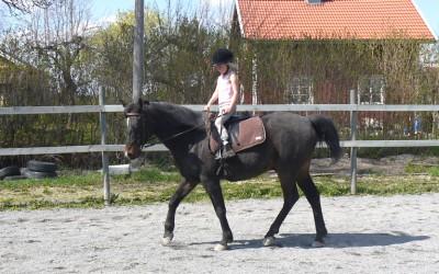Carolina 7 år rider lektion på Excell 26 år. 10 maj 2013